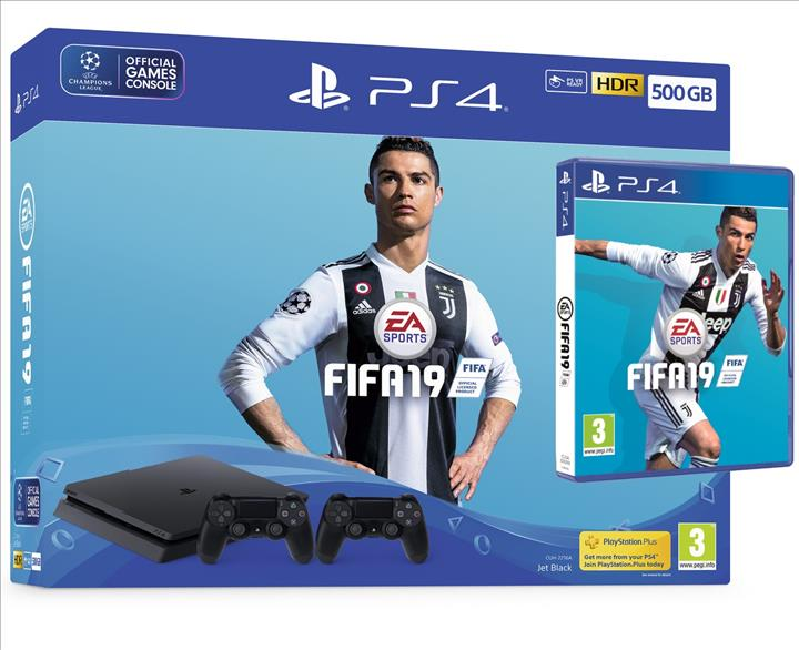 SONY Playstation 4 500GB + שלט נוסף + FIFA 19