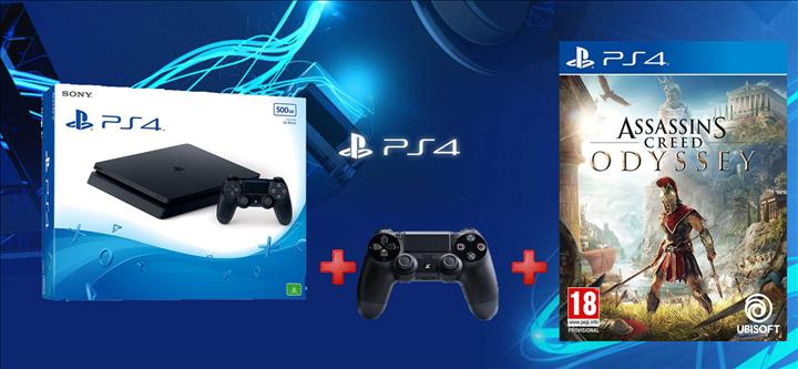 קונסולת Playstation 4 Slim 1TB + שלט נוסף + AC Odyssey!