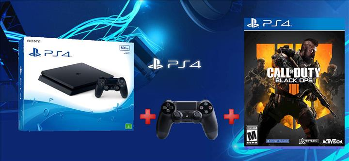 קונסולת Playstation 4 Slim 1TB + שלט נוסף + COD Black Ops 4!